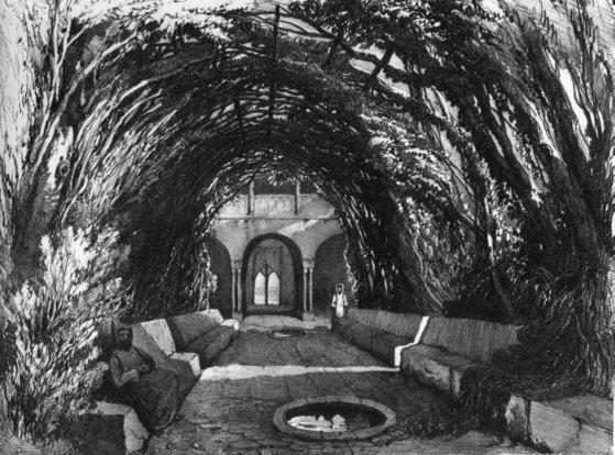 Vista del la bóveda de laureles del Cuarto Real de Santo Domingo, por Girault de Prangey (1836-1839). Al fondo se aprecia la qubba.  Fuente: www.eea.csic.es